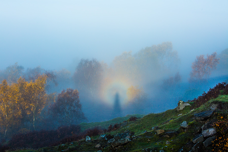 IMAGE REF: #077A Brocken Spectre. A rare weather event where yours truly has been projected onto the background highlighted by the rings of glory